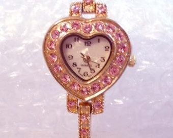 FREE SHIP Pink Rhinestone Valentine's Day Heart Watch (4-4537)