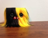 Yellow & Black Striped Monster Wallet- Two Turquoise Eyes