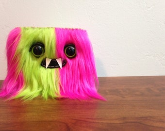 Lime & Pink Striped Monster Wallet- Two Green Eyes