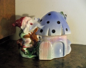 gnome florart toad stool house planter