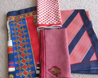 Lot of 4 Vintage Ladies Poly Acetate Fashion Scarf Affordable Scarves  -  (#18)