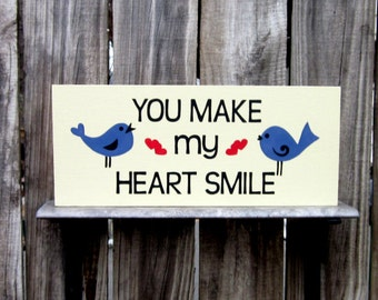 Bird Sign, Love Birds, Love, Hearts, Smile Sign, Painted Wood Sign, Bluebirds, Antique White, Blue, Red Hearts