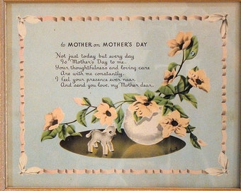 Vintage Framed Print and Poem, To Mother on Mothers Day, Floral Motif