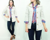 Vintage 70's Oatmeal Knit Draped Cardigan Sweater / Wood Button Up Front