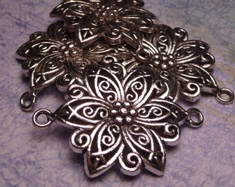 "Large Silver Flower Connector Bead 1.25"" - 1pc"