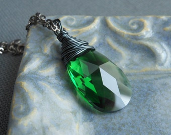 Green Crystal Long Necklace, Wire Wrapped Fern Green Swarvski Crystal Gunmetal Necklace