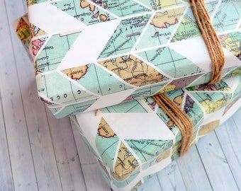 Wrapping Paper Sheets with Vintage Map Chevron Pattern