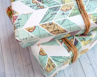 Wrapping Paper Sheets - Vintage Map Chevron Pattern - Travel Inspired Wrapping Paper - Pretty Gift Wrap - Vintage Gift Wrap