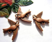 10 Antique copper bird charms bird jewelry  connectors 17mm x 21mm S609