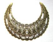 6 Ethnic earring chandeliers antique bronze metal jewelry findings moon shape jewelry filigree findings 45mm x 36mm R00109