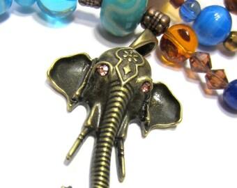 2 Lg Elephant pendants antique bronze charms 34mm x 46mm statement necklace focals 1085