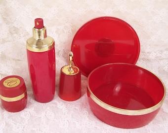1960's Avon Vanity Dressing Table Set, Vintage Red & Gold, 3PC  Perfume Jar Set, Cologne Bottle, Charisma Powder, Ring Jewelry Trinket Box