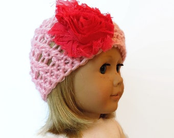 18 Inch Doll Hat Pink Crochet Beanie Flower Hat