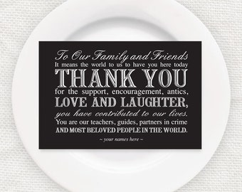 elegant wedding reception thank you card instant download printable black and white editable file customised place setting thanks decoration