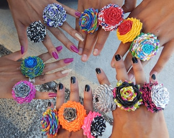 Duck Tape Flower Rings