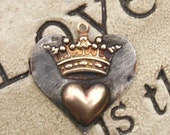 Soldered Crown and Heart Pendant Bohemian Raw Brass Crown Metalwork Mixed Metal Jewelry Supplies Scrapbooking supply Altered Art Supply