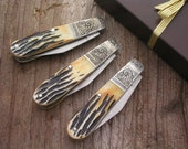 Hand Engraved Personalized Groomsmen Gifts Folding Pocket Knives Bear & Son India Stag Bone Barlow