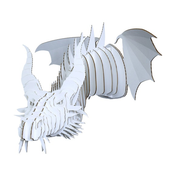 Nikita large cardboard dragon head white by cardboardsafari for Cardboard dragon template