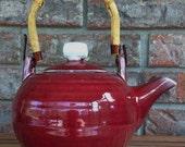 Handcrafted Kodiak Island Deep Red Ceramic Tea Ceremony Tea Pot with Authentic Cane Tea Pot Handle