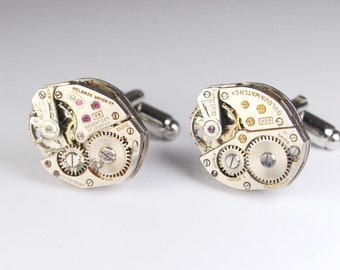 Steampunk Cufflinks Vintage Gruen Watch Movement Mens Gear Cuff Links by Steampunk Vintage Design