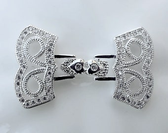 Top Quality Cubic Zirconia Clasp Multi Strand Tab White Gold Plated Rhinestone Crystal Necklace Bracelet Jewelry Supply AC087