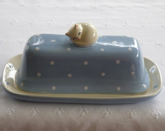 Sleeping Cat - 2 Piece Butter Dish - Choose Your Color - New Pottery -  USA Made