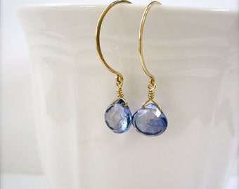 Mystic blue quartz gold hoop earrings - Iridescent blue earrings, bridesmaid gifts, beachy jewelry, gold earrings with blue stones, Tidepool