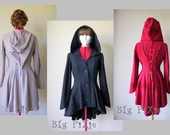 Women's Asymmetrical Hemline Fleece Jacket, Cinched Waist Corset Lacing, Hi Low Victorian Romantic Gothic Coat