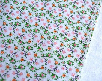 Vintage Fabric - Pink and Orange Vine Flowers - 44 x 52