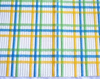 Vintage Fabric - Embroidered Green Blue and Yellow Plaid on White - 44 x 51
