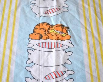 Vintage Bed Sheet - Garfield Stripe - Twin Flat