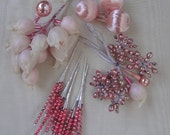 "Vintage Pink Christmas Ornaments / Mercury Glass / Japan 60""s"
