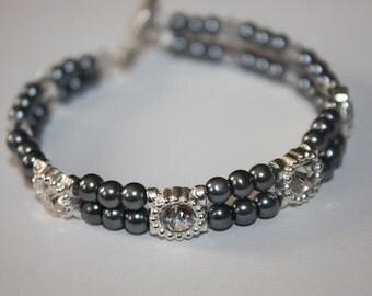 Gray Swavorski Pearl Bracelet