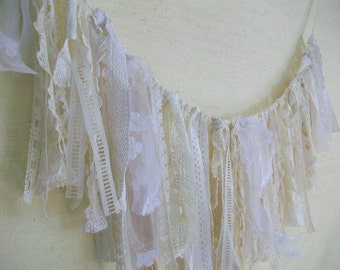 Rustic wedding decor Shabby tassel garland Vintage tatters Extra long tatters Shades of white Farm country vintage weddings