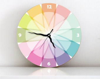 Colorful Rainbow Pastel Geometric kids bedroom large Modern kitchen unique decorative home decor handmade graphic design wall clock