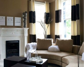 Pair of color block rod pocket linen curtain panels black and cream colorblock