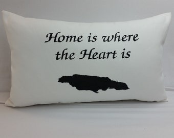 Home is where the heart is, Jamaica, throw pillow 18 x 12 inches