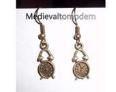 Small Steampunk Antiqued Looking Brass Gold Earrings 1 inch