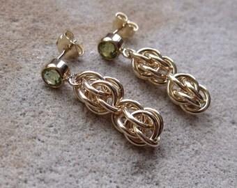 """Gold Filled Peridot """"Sweetpea"""" Earrings"""