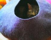 Cat Cave / cat bed - handmade felt - Purple/Grey or all Purple-S,M,L,XL + free felted balls