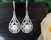 Wedding Jewelry Bridal Earrings Bridesmaid Earrings Bridesmaid Gifts Dangle Earrings Cubic Zirconia Tear drop Earrings