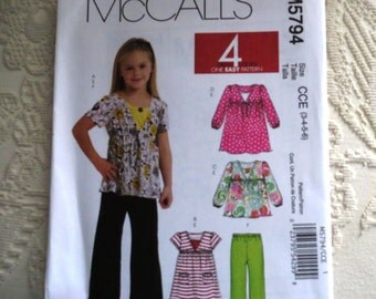 McCalls Sewing Pattern 5794 Girls Tops Dresses Tank Top Pants Child Size 3 4 5 6