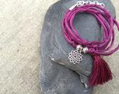 Violet Silk Wrap Bracelet w/ Sterling Silver Crown Chakra Charm and Tassel