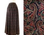 Vintage Tan Paisley J Crew Long Maxi A Line Skirt Boho Pockets S 8