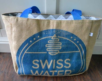 Swiss Water Eco-Friendly Market Tote Bag, Handmade from a Recycled Coffee Sack