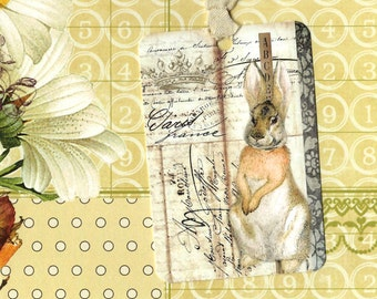 Tags, Rabbit Tags, Vintage Style, Bunny Tags, by Luvcrystals