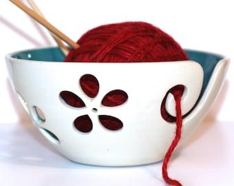 Turquoise flower Yarn Bowl, Yarn Bowl, Knitting Bowl, Crochet Bowl, Turquoise and White Yarn Bowl, Made to Order