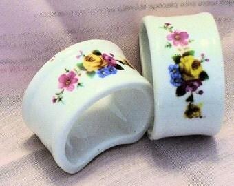 NAPKIN RINGS, Porcelain, Roses, Set of 2 vintage 1980s