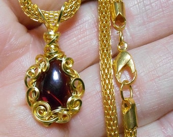 Red garnet drop cabochon pendant, natural stone from India, hand wrapped gold filigree setting