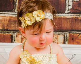 Hydrangea Flowers Headband, Little Toddler, Youth, Flower Girl, Spring, Birthday Outfit, Lace Stretchy Band, Cream Ivory Off White Newborn
